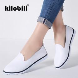 Kilobili/женские балетки на плоской подошве; слипоны из натуральной кожи; женские мокасины с закрытым носком; Повседневная обувь; женские летни...