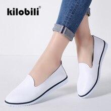 kilobili Women Ballet Flats Shoes Genuine Leather Slip on ladies Shallow Moccasi