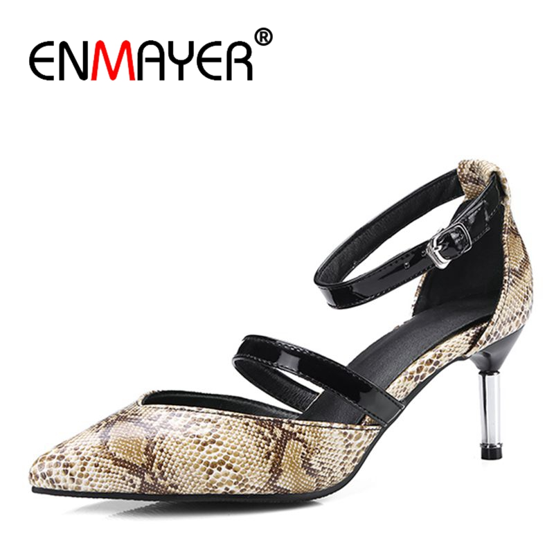 ENMAYER Double color patterned <font><b>Shoes</b></font> Woman <font><b>High</b></font> <font><b>Heels</b></font> Summer <font><b>Pumps</b></font> Slip-on <font><b>2018</b></font> <font><b>Top</b></font> <font><b>Quality</b></font> <font><b>Pumps</b></font> <font><b>Shoes</b></font> Plus Size35-43 ZYL026 image