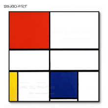 Free Shipping Hand-painted Piet Mondrian Geometric Oil Painting on Canvas Simple Design for Wall Decoration
