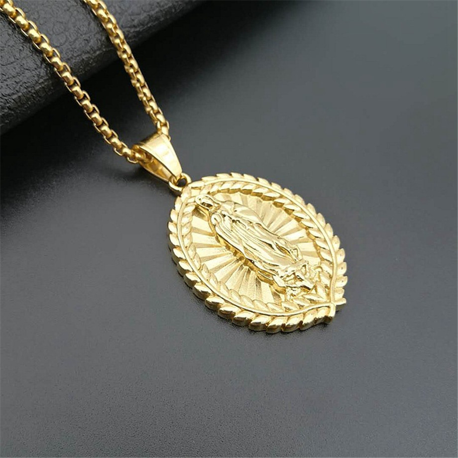Virgin Mary Pendant Necklace Stainless Steel Women Christian Jewelry Lady of Guadalupe Miraculous Oval Religious Necklace in Pendant Necklaces from Jewelry Accessories