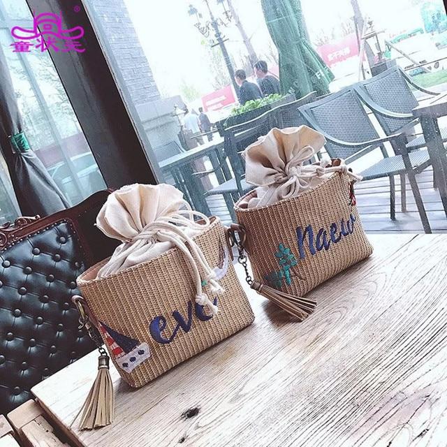 2017 New Fashion Women Straw Drawstring Shoulder Bag Summer Beach Embroidery Purse Ladies Crossbody Clutch Messenger Handbag