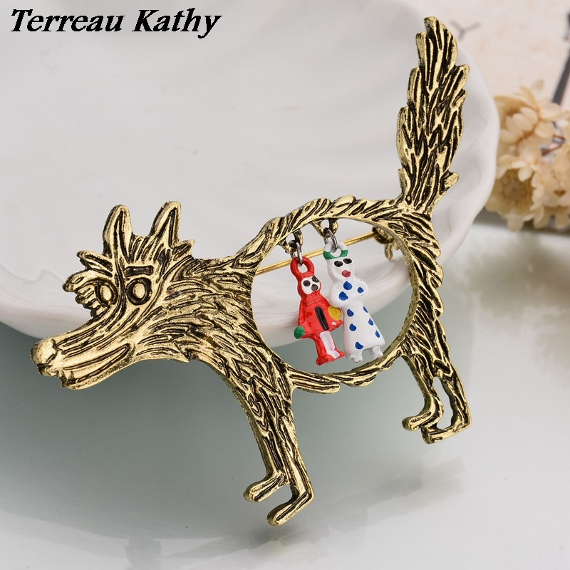 Real Shooting Fashion Vintage Wolf Brooch jewelry Little Red Riding Hood Unique Epaulette Metal Pins Brooches For Women BKb175 crucifixo pingente de ouro masculino