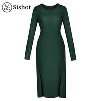 Sishot kadın vintage triko elbise 2017 kış sonbahar yeşil düz uzun kollu diz boyu o boyun zarif düz retro elbiseler