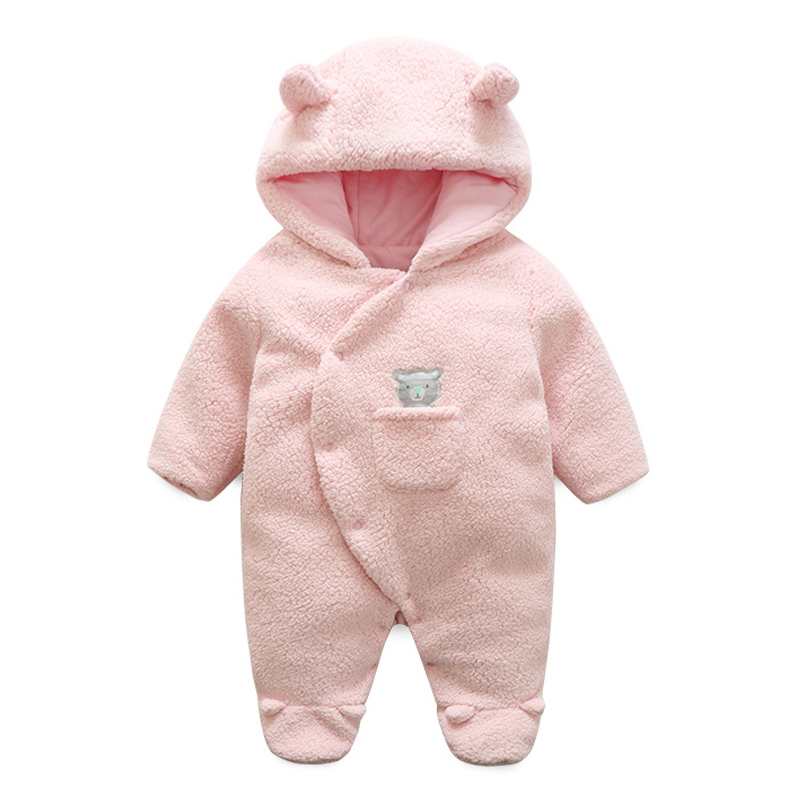 Newborn Baby Hooded Jumpsuit Cotton Pink Bear Girls Autumn Winter Soft Fleece Coats Kids Warm Clothes Infantil Overall Outerwear zofz baby clothes for boys 2017 autumn and winter warm soft romper kids cotton fashion animal black clothes baby girls clothes