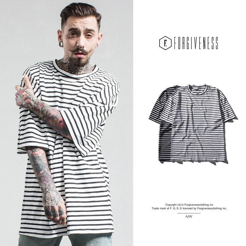 FORGIVENESS Spring Tide Brand Men s Loose Version of the High Street Stripes tshirts Cotton Men