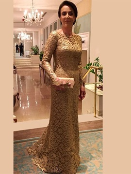 A-line high-neckline lace formal party, long sleeve, new elegant and luxurious mom dress