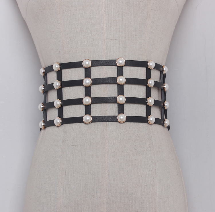 Women's Runway Fashion Pearl Beaded PU Leather Cummerbunds Female Dress Coat Corsets Waistband Belts Decoration Wide Belt R1162