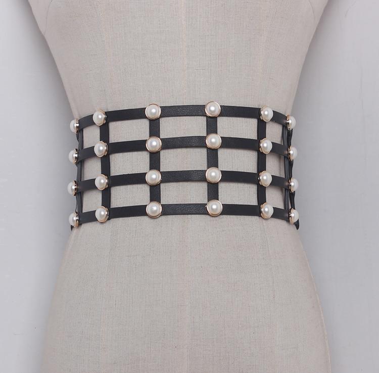 Women's Runway Fashion Pearl Beaded PU Leather Cummerbunds Female Dress Coat Corsets Waistband Belts Decoration Wide Belt R1162