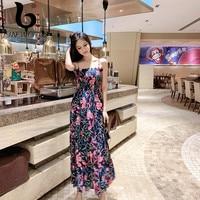 FINEWORDS Vintage Print Bohemian Dress Long With Flower Chiffon Summer Beach Dress Women Sleeveless Floral Sexy Strapless Dress
