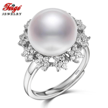 Big Flower 925 Sterling Silver Natural Pearl Ring for Women Wedding Jewelry Gifts 11-12MM White Freshwater Pearl Jewelry FEIGE цена и фото