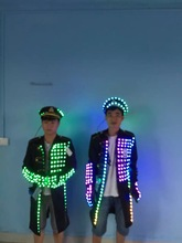Independent design of LED captain costume windbreaker costume show service with colorful navy cap