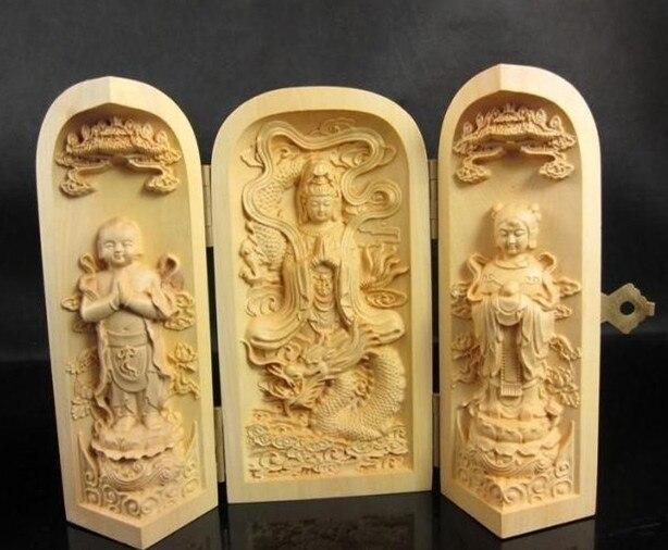 TNUKK   Exquisite Chinese Wood Shakyamuni Amitabha Buddha Kwan-Yin Guan Yin Buddha Statue Amulet Auspicious Box.
