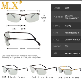 2019 brand Photochromic Sunglasses Men Polarized Chameleon Discoloration Sun glasses for men fashion rimless square sunglasses 4