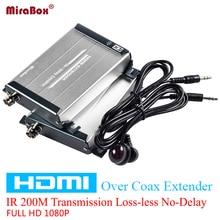 Mirabox 200 m HDMI Sobre Cable Coaxial Solo RG59/HDMI Sobre Extensor Coaxial RG-6U Con Control de INFRARROJOS 1080 p Coaxial hdmi Receptor Transmisor