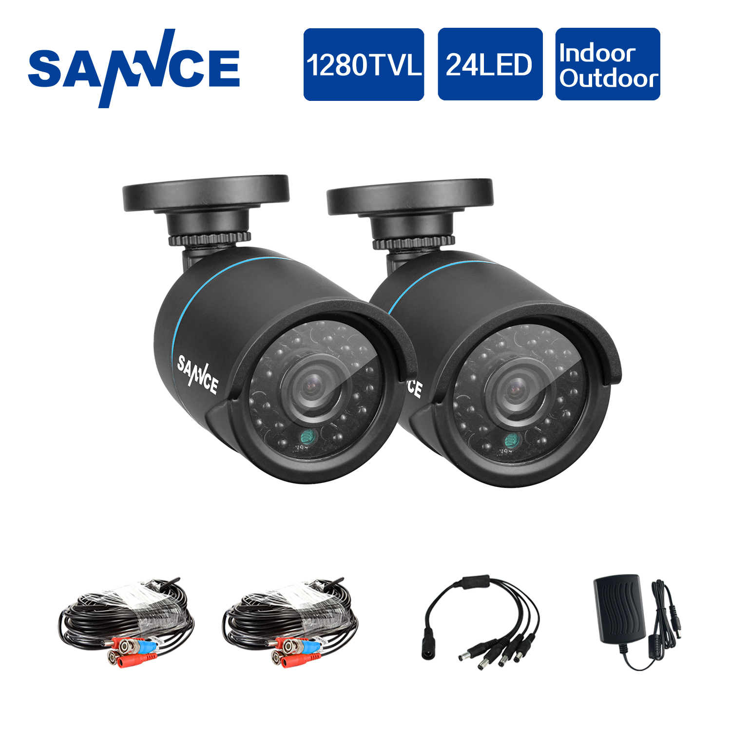 SANNCE AHD 720P 2PCS 1200TVL Bullet CCTV Camera Suite 1.0MP Waterproof IR-Cut Night Vision Camera For Surveillance System Kit BV