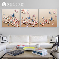 Top Selling Modern Wall Art Living Room Home Decoration Butterfly in Flowers Resin Carved Paintings