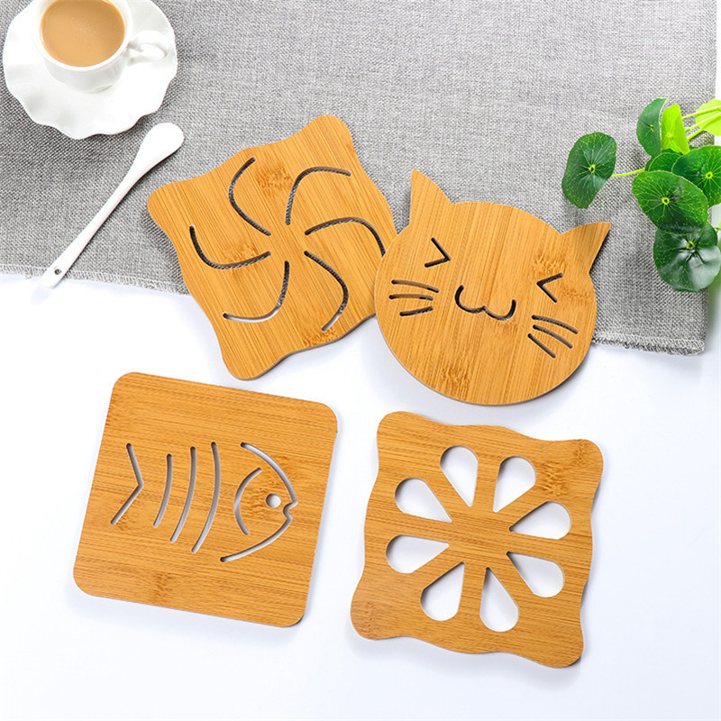 1 Piece Ctue Wood Coaster Kitchen Creative Placemat Table Mat Decorations For Home Cup Drink Mug Tea Coffee 8 Styles Pad Drink
