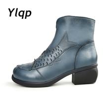 2017 hohe Qualität Handgemachte Starke Ferse Frauen Schuhe Aus Echtem Leder Frauen Stiefel Martins Winter Vintage Stiefeletten Botas Mujer