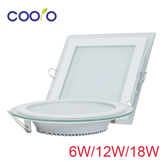 AC110 220V LED Panel Light 6w 12w 18w Round Or Square Glass Led Down