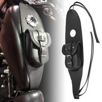 Motorcycle Gas Fuel Tank Leather Bag Dash Console Center Pouch Black Bag Leather For Harley Sportster XL 883 1200 Models