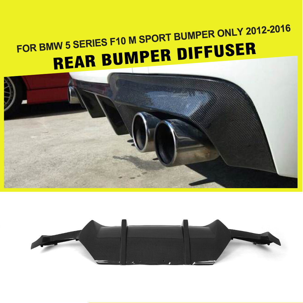 цена на Carbon Fiber Car Rear Bumper Lip Diffuser Spoiler For BMW F10 M Sport Sedan 12-16 dual exhaust two outlet 528i 530i 535i 550i