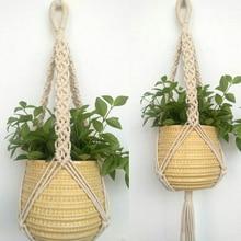 1 шт., винтажная плетеная джутовая веревка, держатель для горшка, подвеска для растений из макраме, подвесная корзина для растений 78 см Mayitr