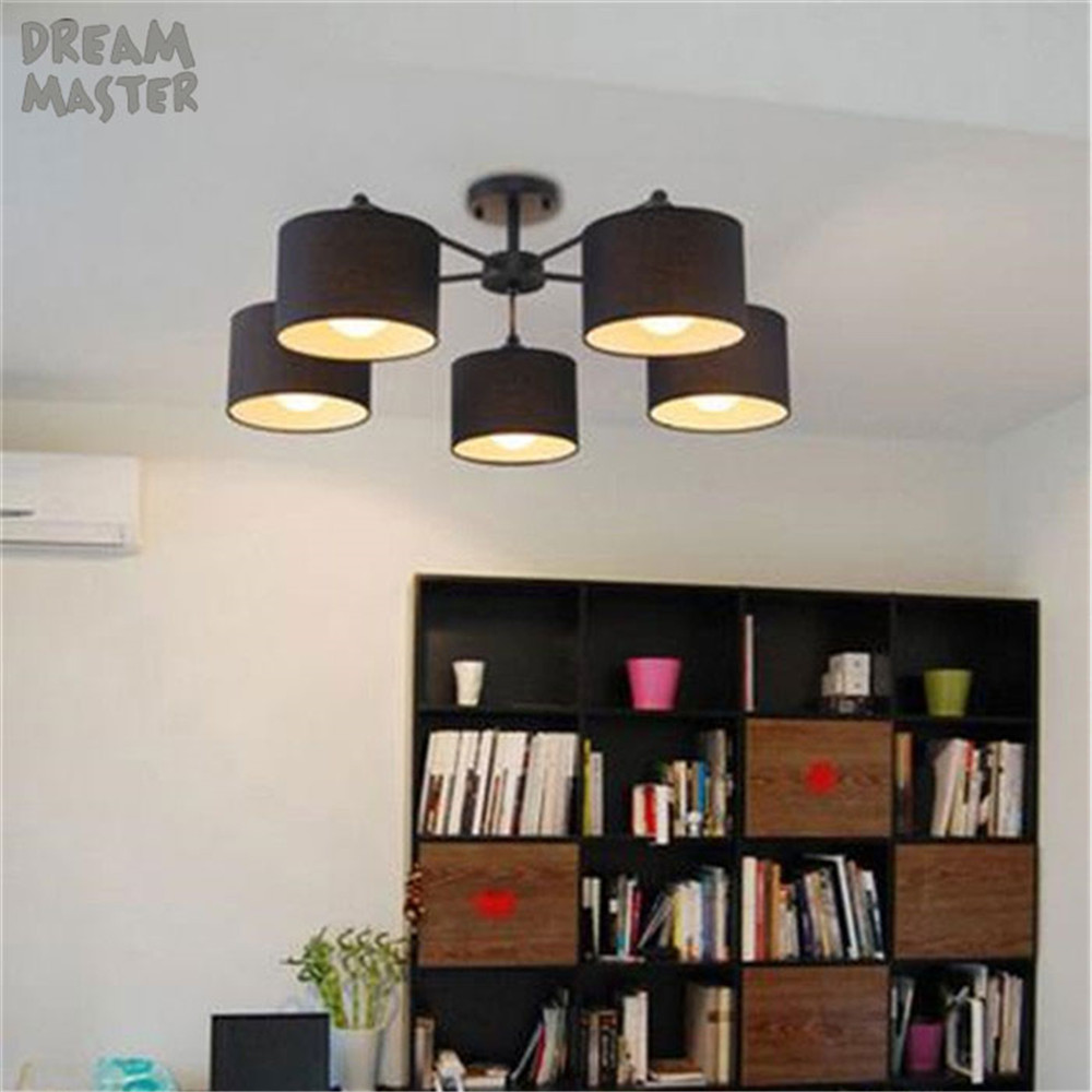 Loft Fabric Ceiling Lights For Home Lighting Led E27 Lamp Lustre Vintage Luminaire Light black white cloth shades Fixtures