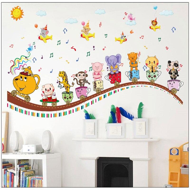 Animal train wall stickers cartoon children 's room ...