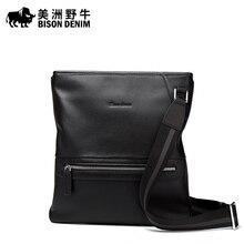 BISON DENIM Brand Men Messenger Bag Top Genuine Leather Handbag Business Casual Crossbody Bag Men's Shoulder Bags Free Shipping