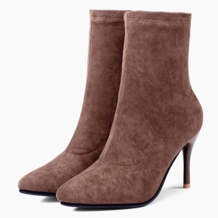 Deslizamiento Mujer Botas Zapatos Botines Sapato Altos Del brown Feminino  Gladiador Xz181618 Primavera Black Becerro Thin En Otoño Tacones ... e6441e5aa1855