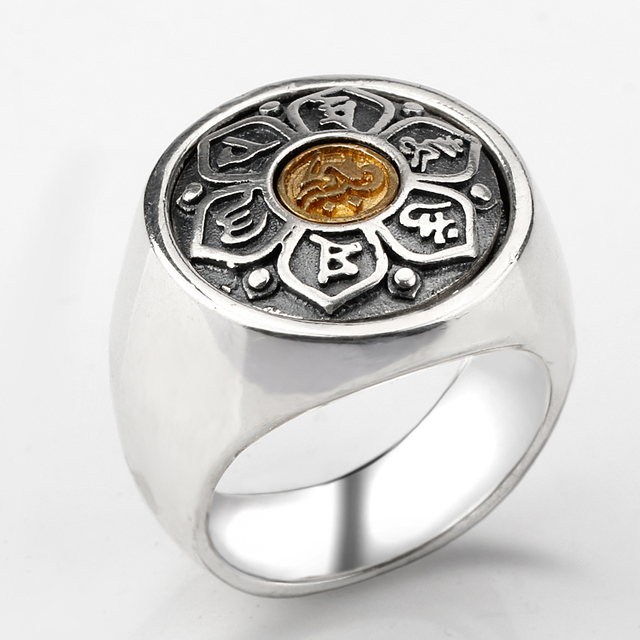 Vintage Tibetan 925 Sterling Silver Jewelry Six Words' Mantra Rings For Women And Men Religion Jewelry