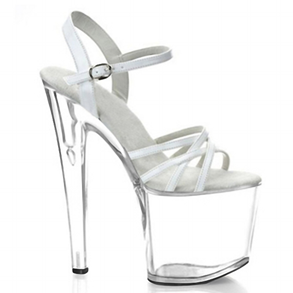 shoe White crystal sexy fashion sexy 17cm high-heeled shoes sandals 8 inch clear high heels platform 20cm high heeled shoes sexy shoes full transparent crystal bag sandals performance shoes 8 inch high heeled shoes