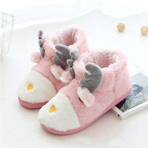 Image 3 - Suihyung zapatos de Invierno para mujer antideslizantes, suaves y Zapatillas de felpa, informales, sin cordones, con dibujos de animales, calzado plano de algodón cálido
