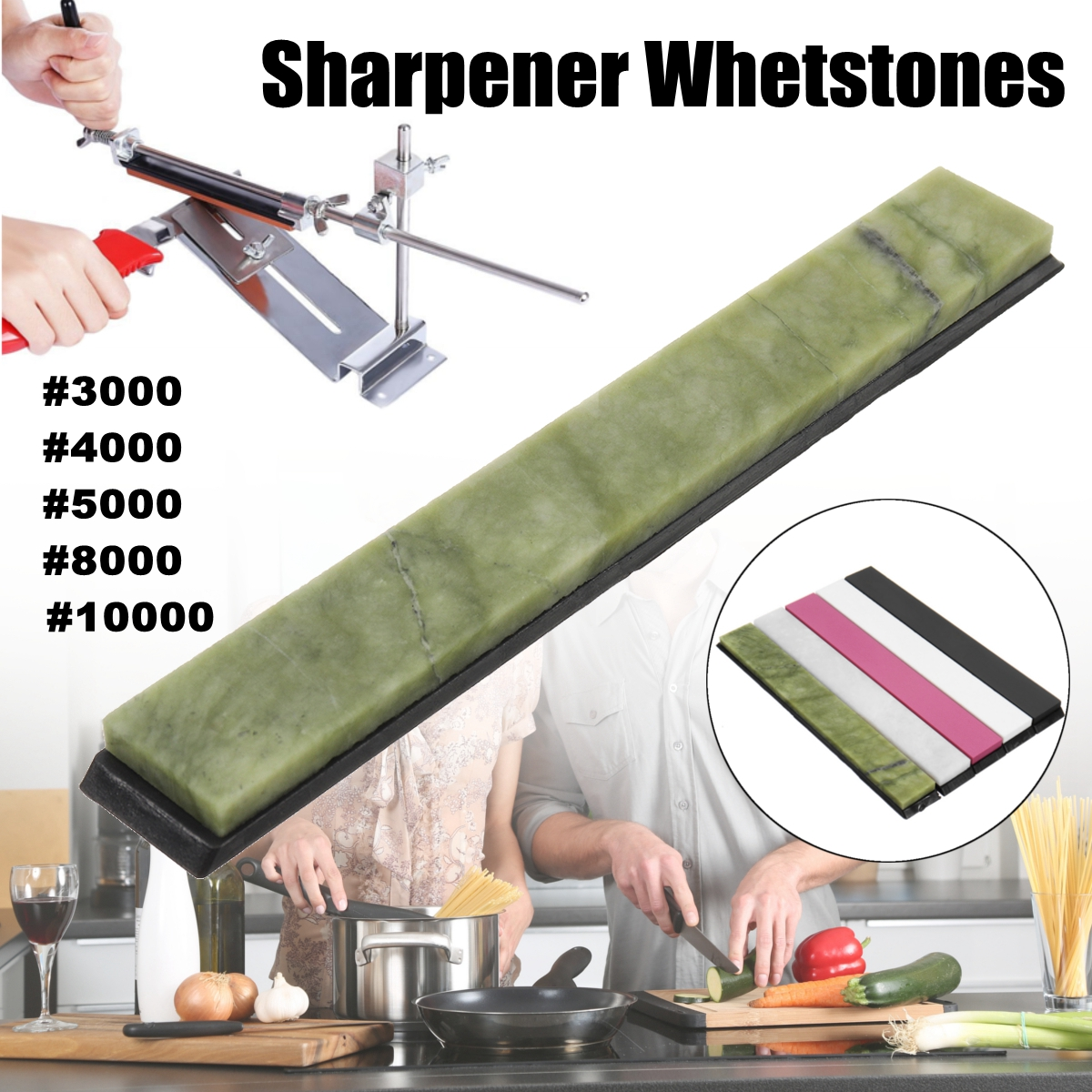 Piedra de jade de pulido de alta calidad #3000 #4000 #5000 #8000 #10000 afilador de cuchillos de piedra de afilar con Base
