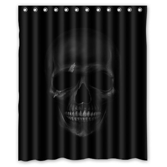 CHARMHOME Personalized Cool And Horror Design Dark Skull Polyester Waterproof Fabric Shower Curtain Rings Included