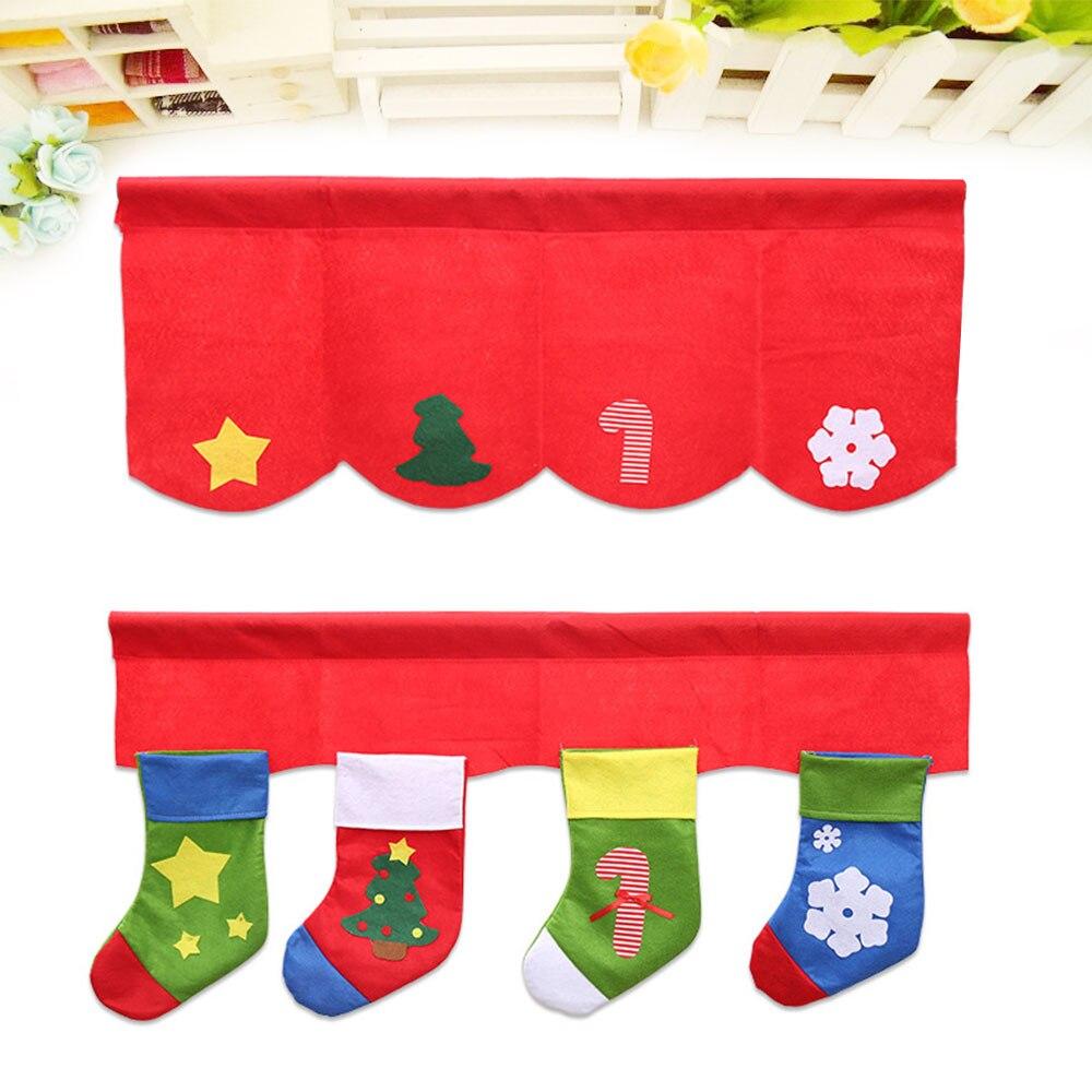 2Pcs/Set Christmas Stockings Decorative Curtains Xmas Bunting Decoration