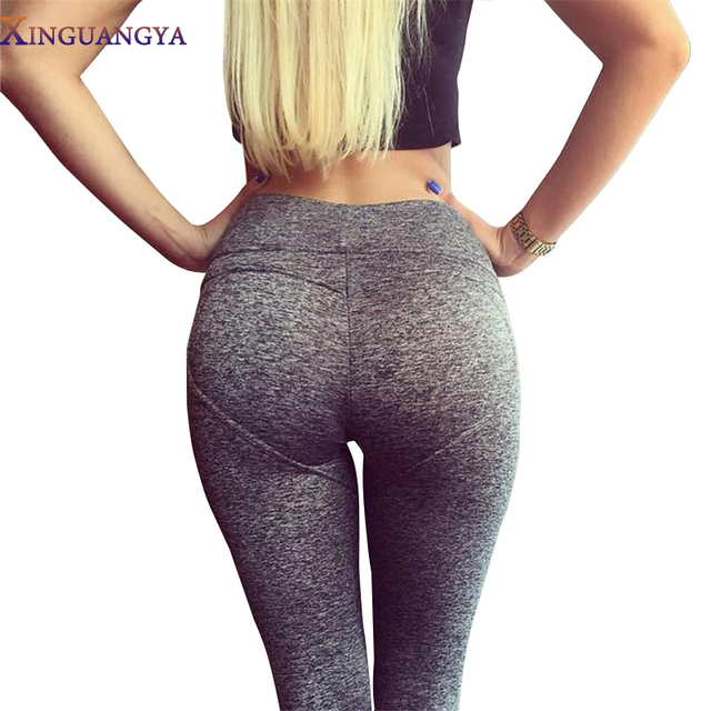 2017 workout leggings Women Leggings fitness Leggins Gray Black Heart Push Up Sexy Slim High Waist Stretch Pants Adventure time