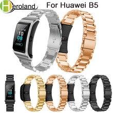 Купить с кэшбэком Stainless Steel For Huawei B5 Smart Watch Bands luxury watchStrap For Huawei B5 Watchband Bracelet wrist Band accessories black