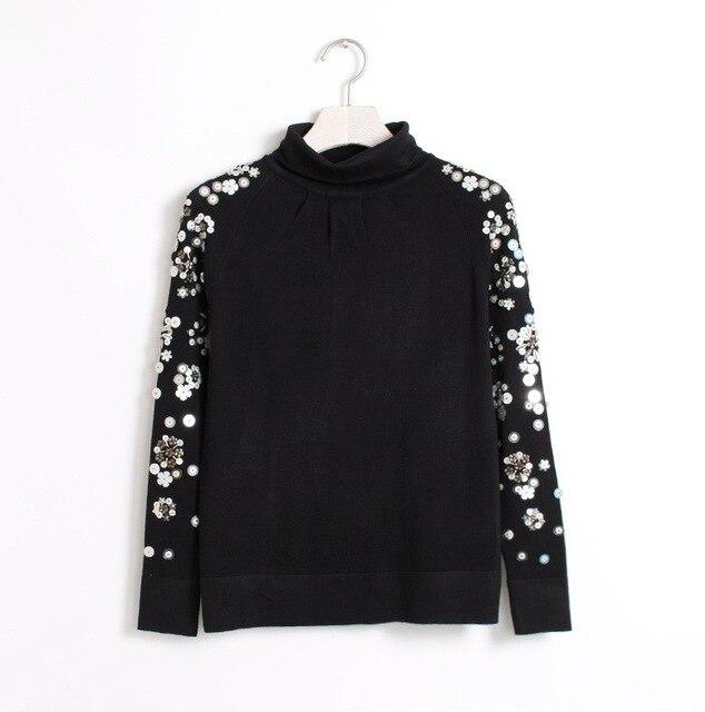 Осень 2017 г. женские черный цветок бисером блестками свитер с высоким воротом Женские винтажные Длинные рукава Пуловеры Вязание пиджаки