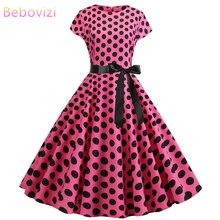 Bebovizi Women Clothes 2019 Pink Dresses Casual Summer Sexy Plus Size Elegant Office Dot Print 1950s Vintage Black Bandage Dress