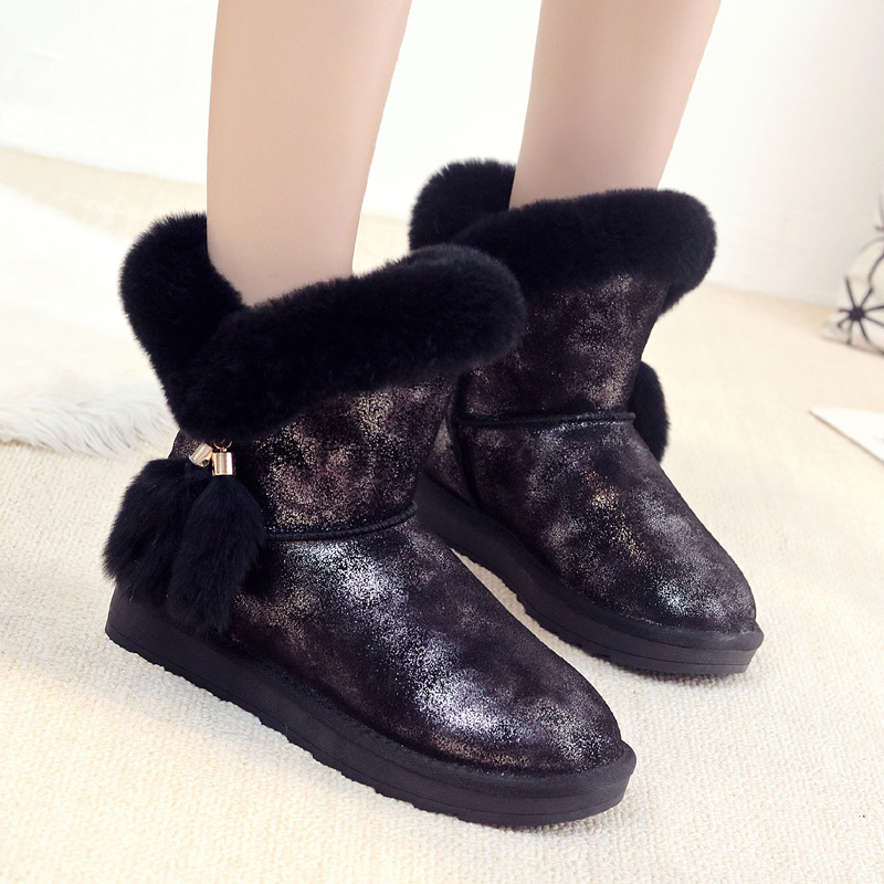 Jookrrix 2018 Casual Shoes Women Fashion Brand Warm Snow Boots Genuine Leather Lady chaussure Winter Female footware with Fur