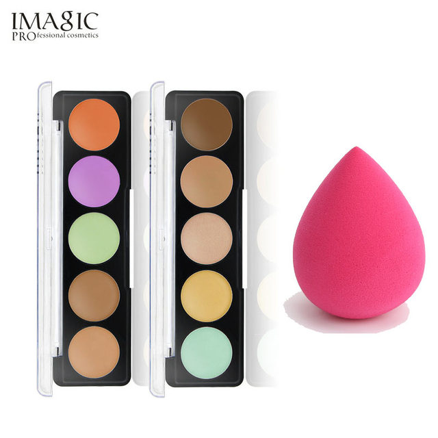 IMAGIC 5 colors Full Cover Pro Makeup Concealer Cream Face Cover Contour Makeup Facial Natural Cosmetic with puff