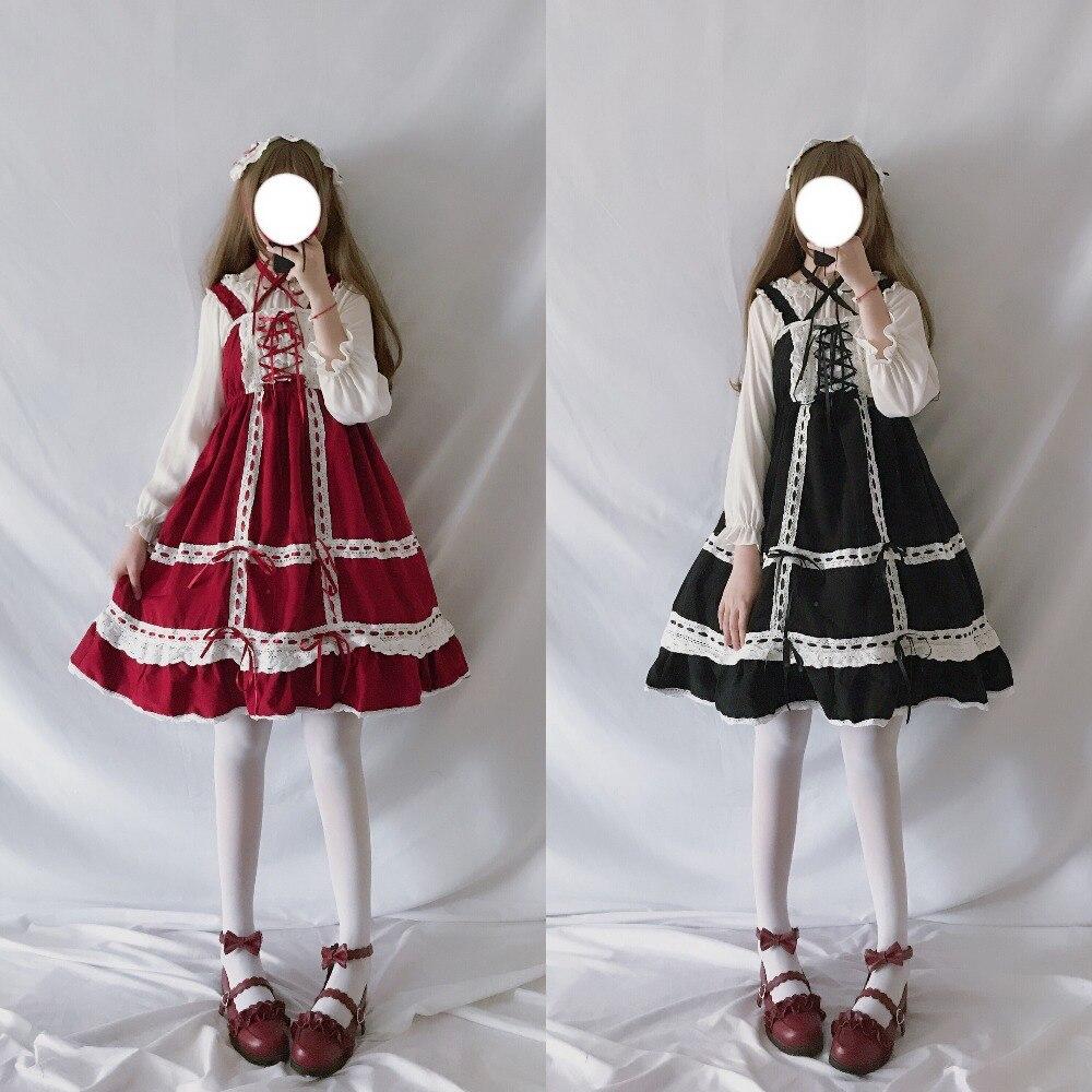 Lolita Dress Sweet Cute Japanese Kawaii Girls Princess Maid Vintage Baby Doll Lace Red Green Black