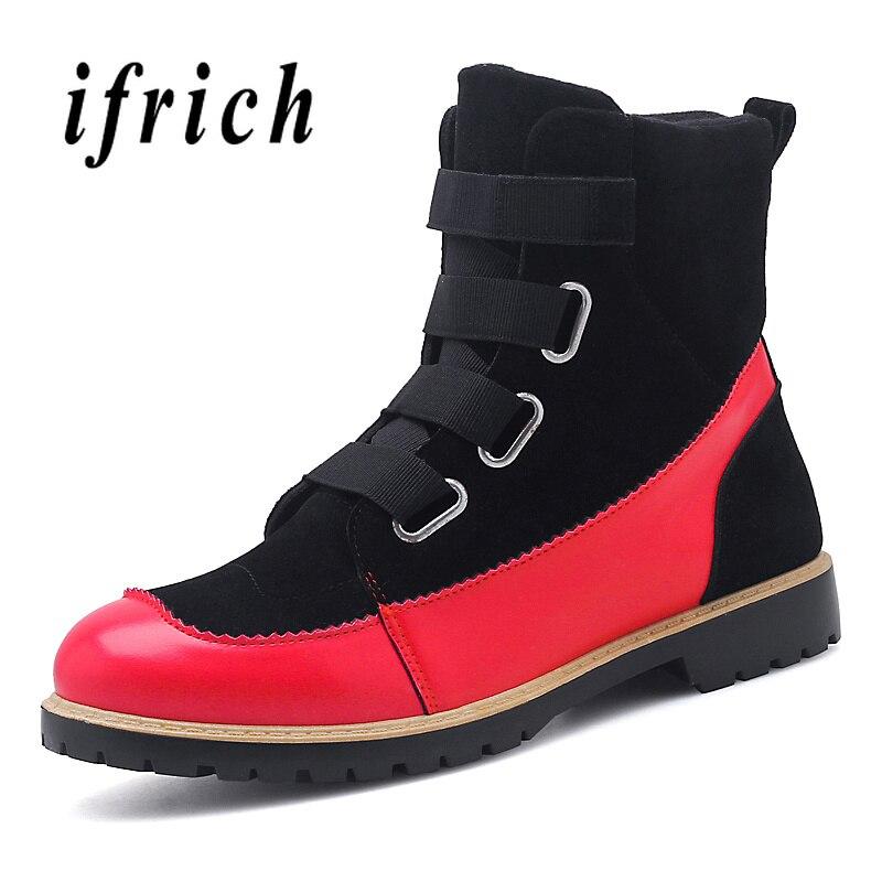 2018 Mode Männer Arbeiten Stiefel High Top Mann Schuhe Schwarz Designer Herbst Winter Herren Casual Stiefel Im Freien Militärischen Kampf Stiefel Elegant Im Stil