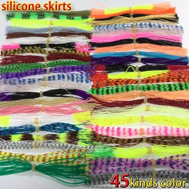 Faldas de silicona para pescar supermulticolor, lote de 45 tipos, cebo giratorio, lubina, señuelo, hoja Señuelos de pesca con mosca 13cm, 2019