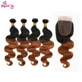 7A Sexy Hair Style Ombre Brazilian Hair With Closure 1b 30 Dark Honey Blonde Weave Brazilian Body Wave 4 Bundles With Closure