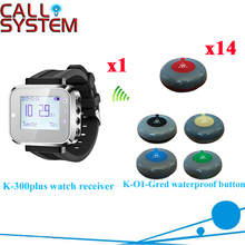 Wireless Waiter Calling System Best Price Of Restaurant Pager With 433.92MHZ( 1 watch + 14 call button )