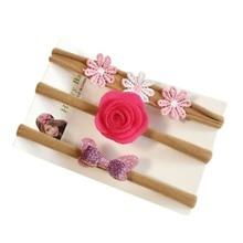 3Pcs Child Lady Cute Bow Headband Chiffon Flower Headwear Toddler Hair Band Equipment