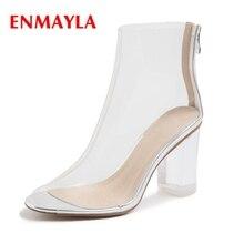 ENMAYLA  Casual Square Heel Tacones Mujer Glass Slipper Women Shoes Zip High Size 34-41 ZYL2091